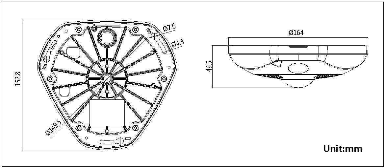 海康威视 DS-2CD6332FWD-I(V)(S)二代鱼眼摄像机外形尺寸参数1