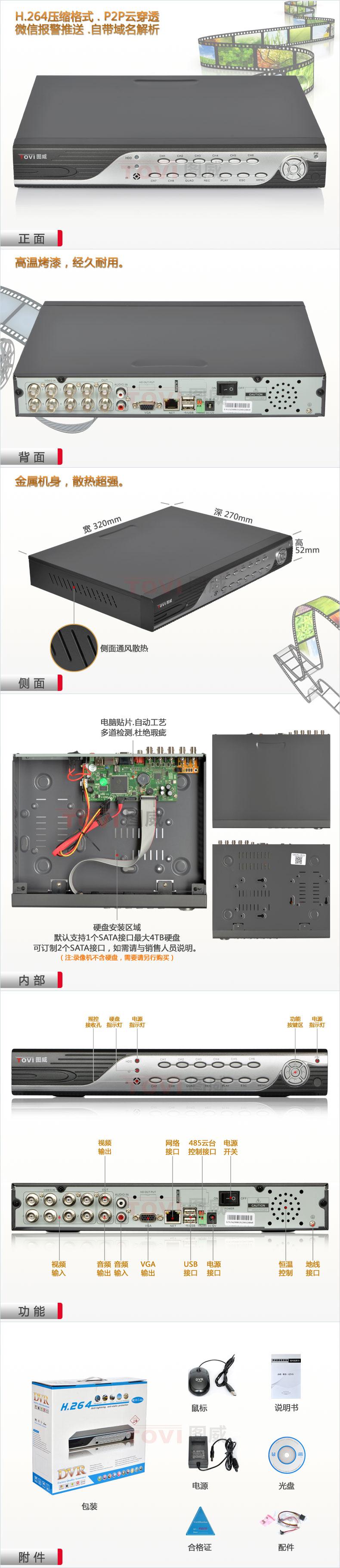 图威TV-DVR2008C硬盘录像机产品展示