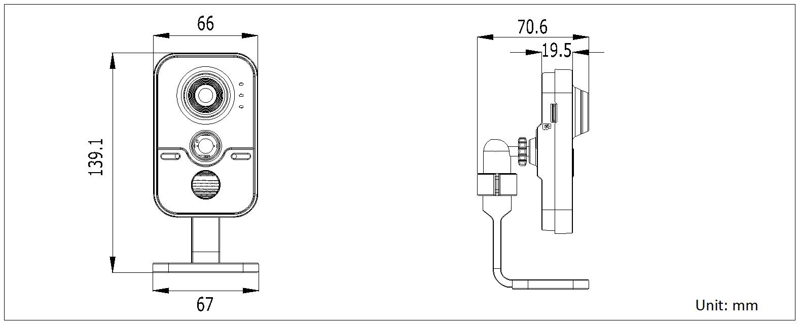 海康威视 DS-2CD3412FD-IW 130万1/3 CMOS多功能报警卡片型网络摄像机尺寸