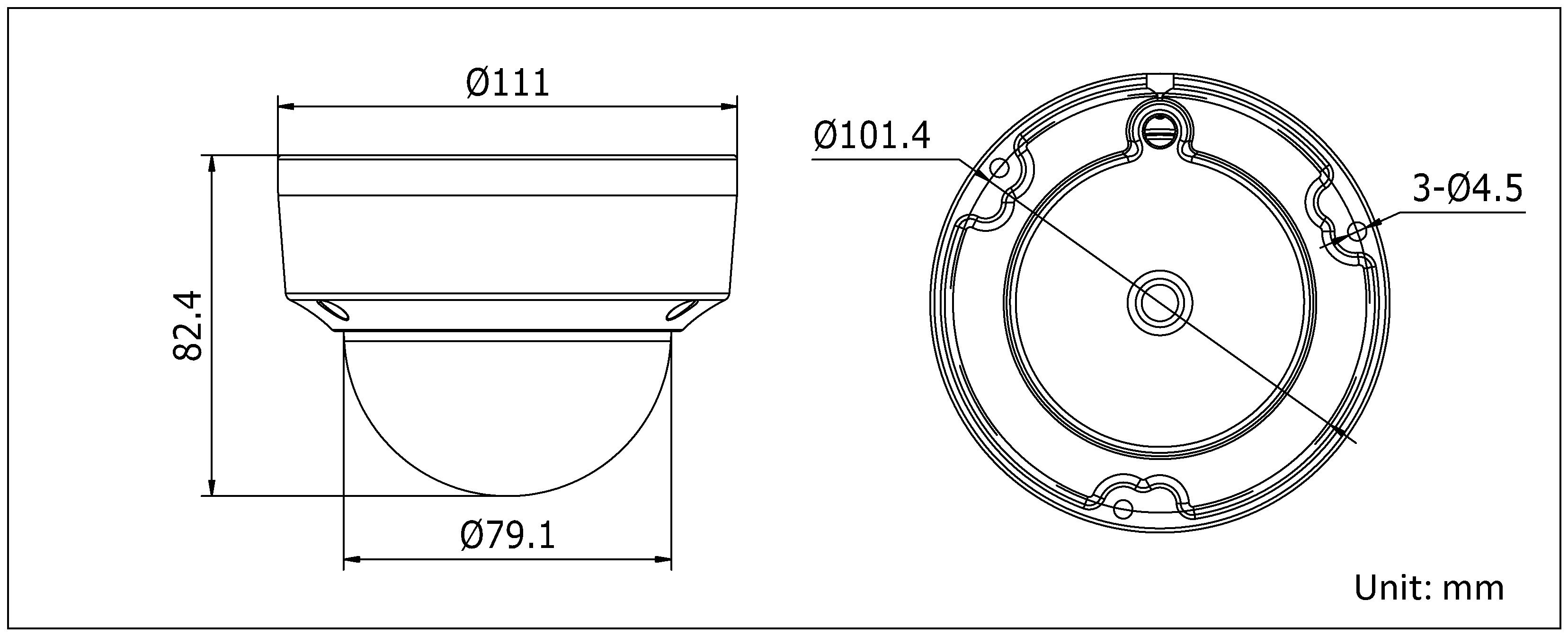 海康威视 DS-2CD2132(D)-(I) 300万1/3 cmos icr日夜型半球网络摄像机尺寸
